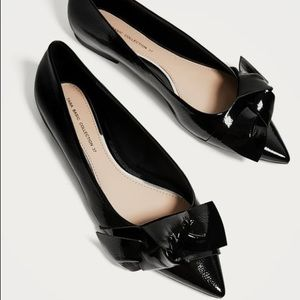 Zara Pointed Ballerinas with Bow